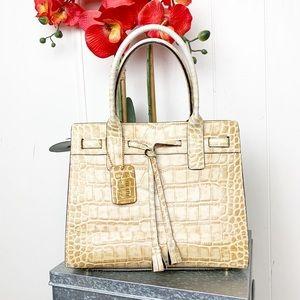 Handbags - Leather moc croc satchel bag w brass feet